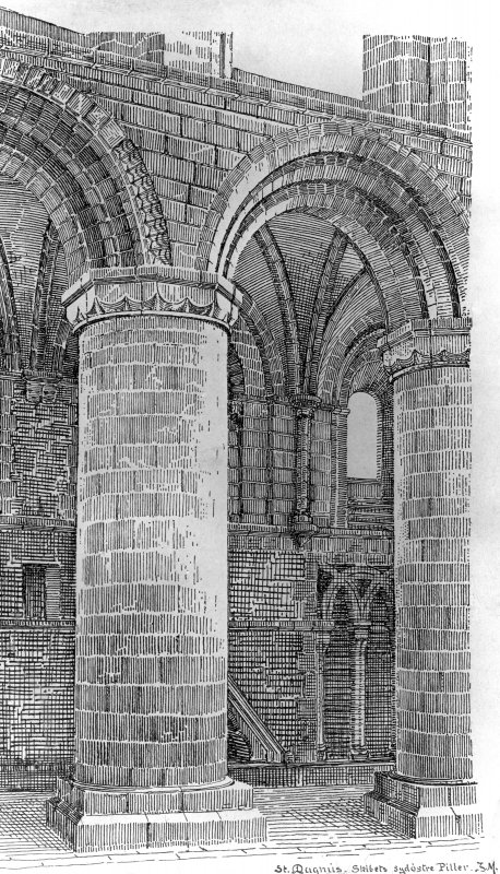 Photographic copy of drawing showing nave.