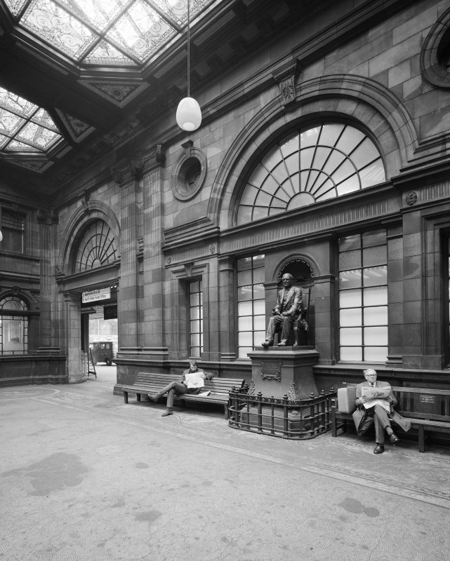 Booking Hall, from south west. Statue of John Walker, General Manager, North British Railway Co