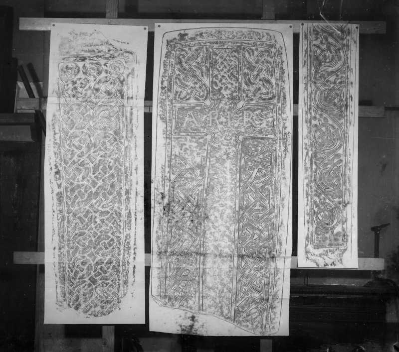 Photographic copy of three rubbings. The middle rubbing shows the face of Govan no.34. The left and right rubbings are unidentified.
