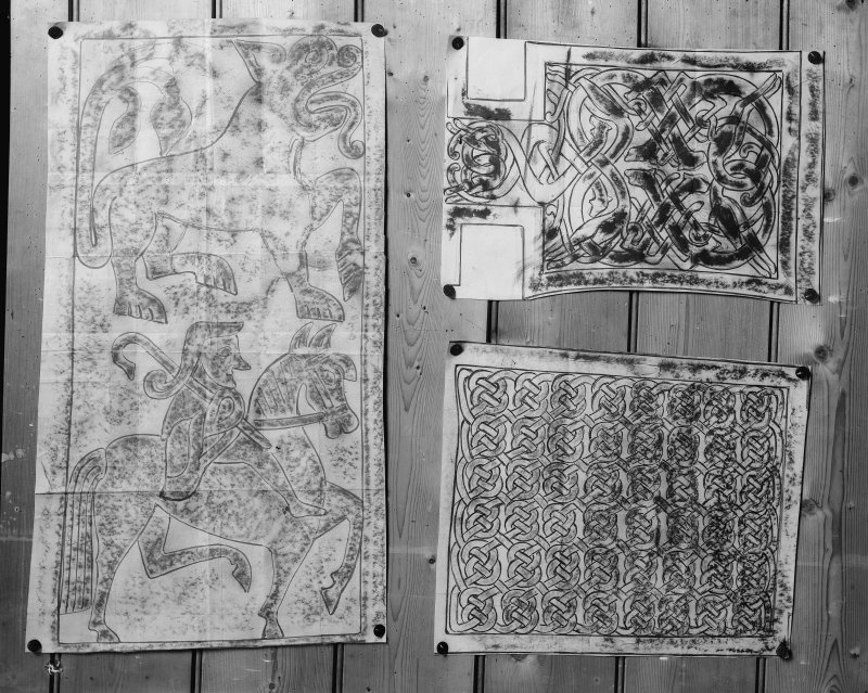 Photographic copy of three rubbings. The left rubbing shows a detail from the Banagher cross located at Clonmacnoise, Co. Offaly, Ireland. The upper right rubbing depicts a detail of the right arm of the Nigg cross slabb. The lower right rubbing is unidentified.