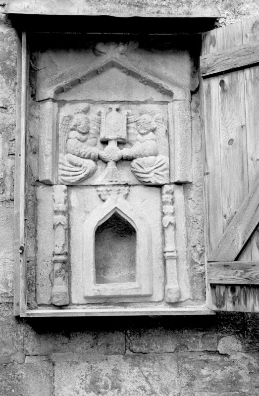 Detail of sacrament house (aumbry) on N side of choir of Pluscarden Abbey