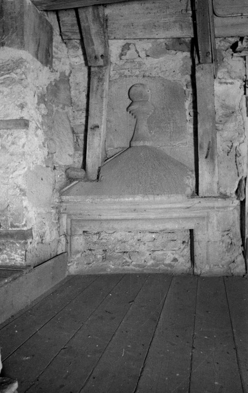 Gardyne Castle. Interior. Detail of doorhead backing on staircase by attic door.