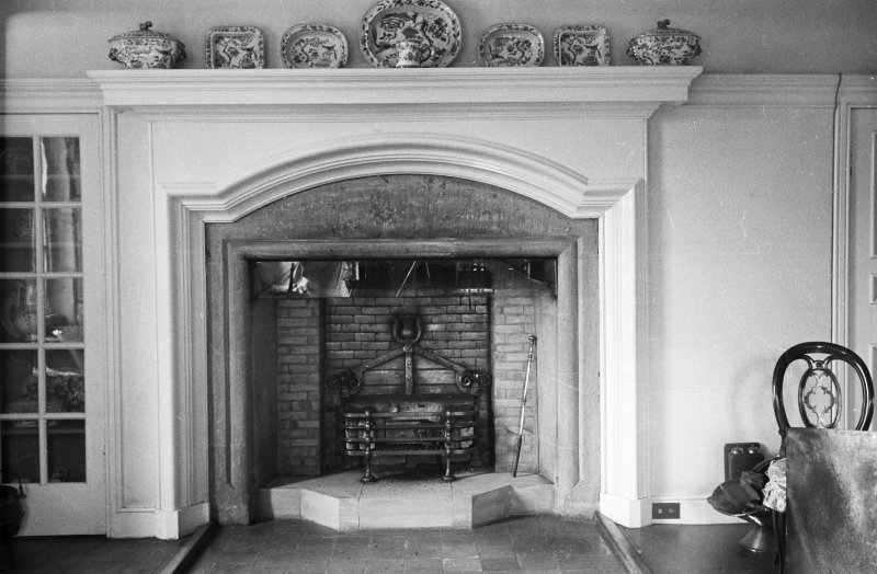 Gardyne Castle. Interior. Detail of fireplace in drawing room.