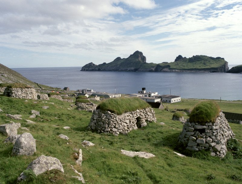 St Kilda, Village Bay. General view of cleitean, military base and Dun, facing south east, with cleitean 34 and 35 over old head dyke in the foreground.