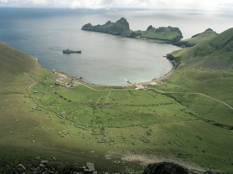 St Kilda, Village Bay. General view looking south showing Sir Geraint L3027.