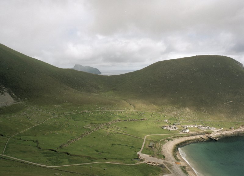 St Kilda, Village Bay. General view looking north across the bay to The Gap, with Boreray in the distance.