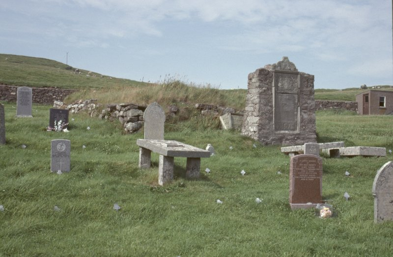 General view of burial ground, Cross Kirk, Shetland.