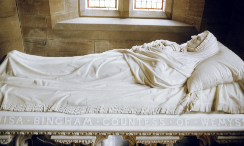 View of tomb with effigy of Lisa Bingham, Countess of Wemyss, Aberlady Parish Church.