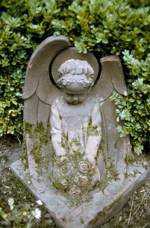 View of headstone showing winged soul, Whitekirk Parish Church Burial Ground.