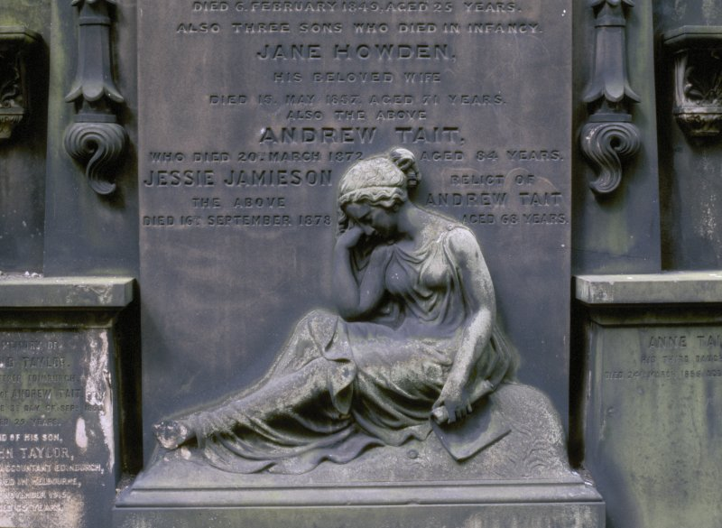View of monument to Jane Howden d.1857 and Andrew Tate d.1872 and family, St Cuthbert's Church burial ground, Edinburgh.