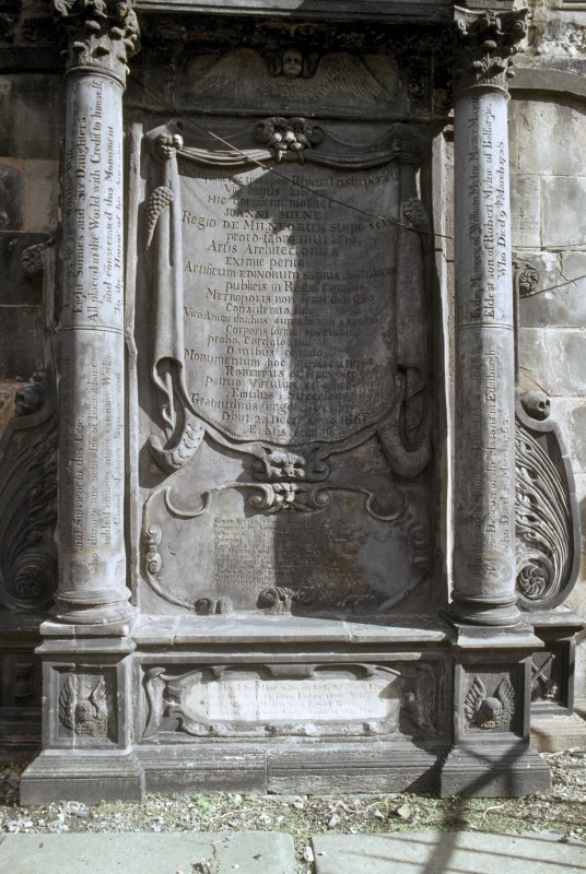 View of mural monument to John Milne and family 1667,  Greyfriars Church burial ground, Edinburgh.