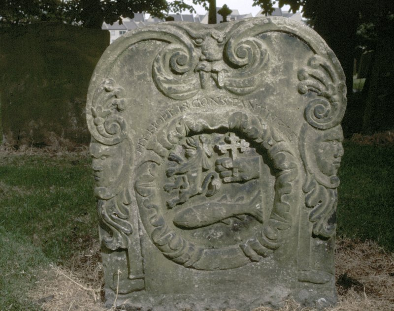 View of headstone to James Donald d. 1768, Auld Kirk of Ayr Churchyard.