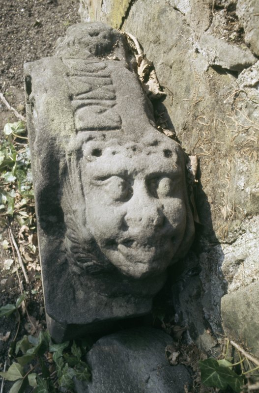 Detail of headstone to Elizabeth Watt d. 1723, Abercorn Churchyard.