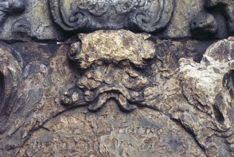 Detail of headstone with possible Green Man, St Michael's Church burial ground, Linlithgow.