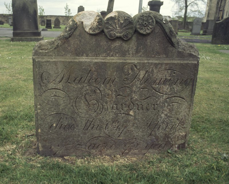 View of headstone to Malcolm Fleming, gardner d.1788, Govan Old Parish Church burial ground.