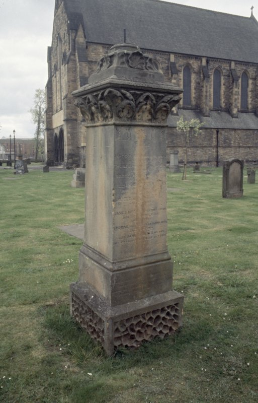 General view with church and pedestal tomb, Govan Old Parish Church burial ground.
