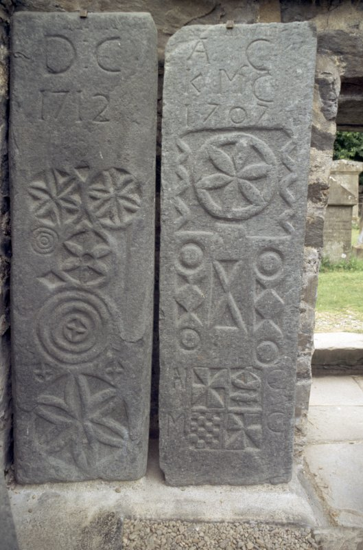 View of carved graveslabs dated 1712 and 1707, Kilmartin churchyard.
