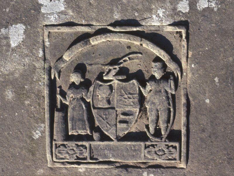 Detail of tablestone to William Howie d. 1789, New Kilpatrick Parish Church Burial Ground, Bearsden.