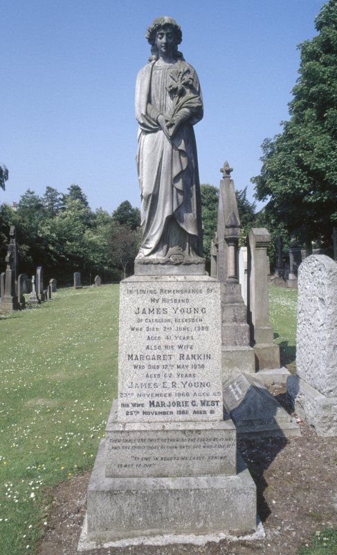 View of  memorial statue to James Young d.1909 and Margaret Rankin d.1930, New Kilpatrick Parish Church Burial Ground, Bearsden.