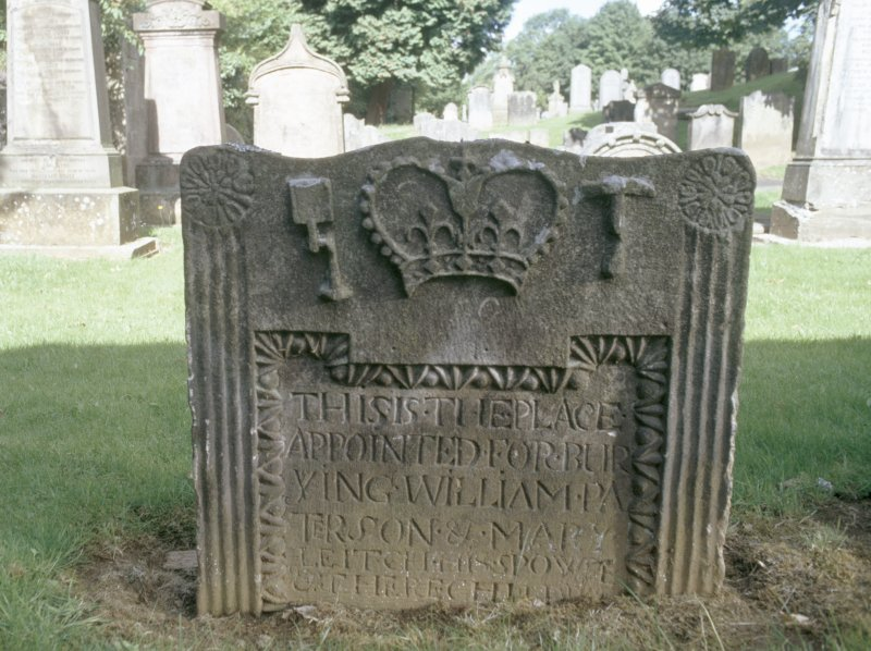 View of headstone to William Paterson d. 1749 and Mary Leitch,New Kilpatrick Parish Church Burial Ground, Bearsden.