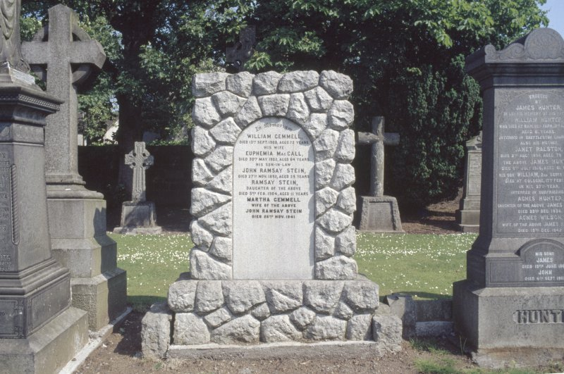 View of monument to William Gemmell and family, New Kilpatrick Parish Church Burial Ground, Bearsden.