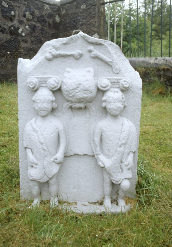 View of headstone commemorating two children killed by wild cat, Muirkirk Parish Churchyard.