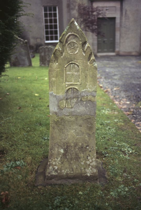 View of carved headstone, St Mary's Churchyard, Rothesay.