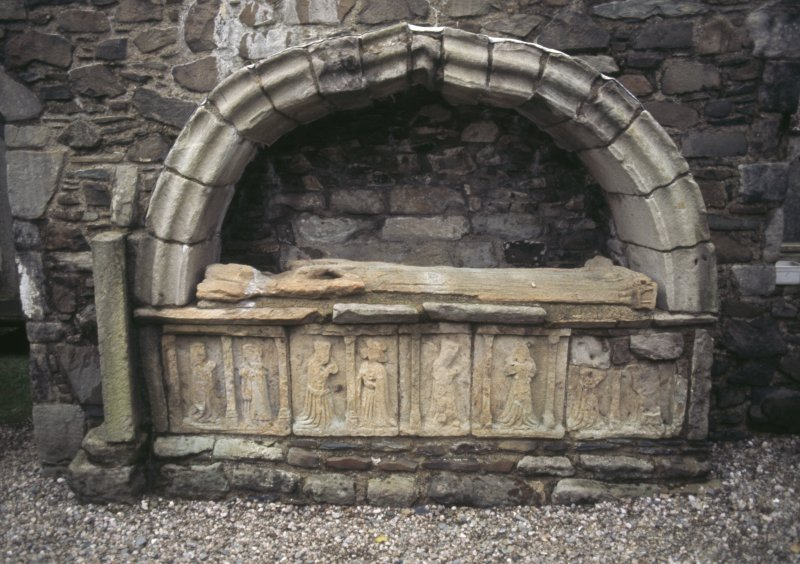 View of tomb with effigy and carvings, St Mary's Churchyard, Rothesay.