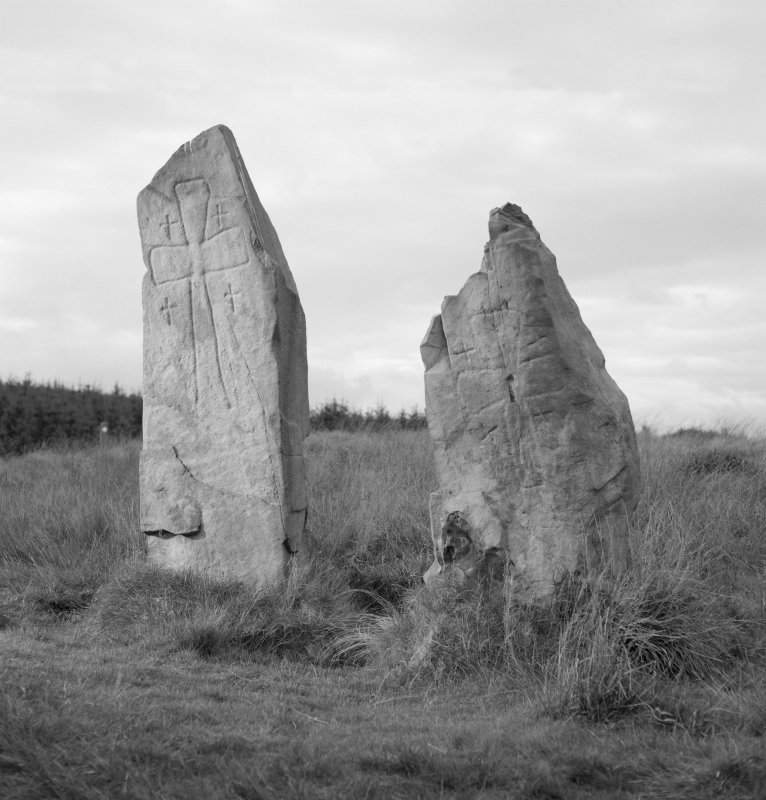 View of faces of two cross-incised standing stones from Laggangarn.