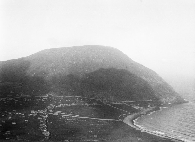St Kilda Village. General view from South West towards village, bay and Oiseval.