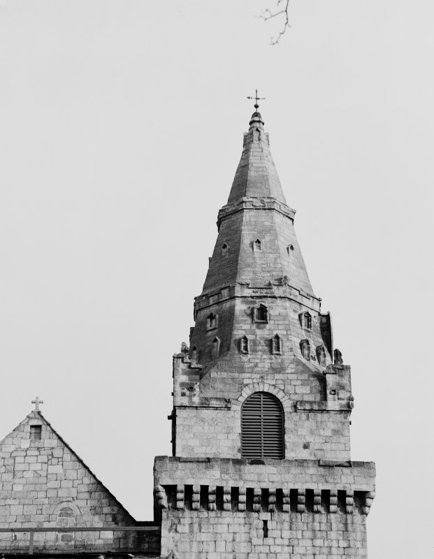 Aberdeen, Chanonry, St Machar's Cathedral. Detail of South tower and spire.