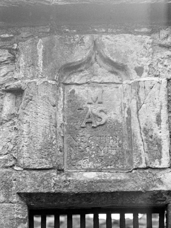 Auchindoir Church. Detail of panel over E door in S side.