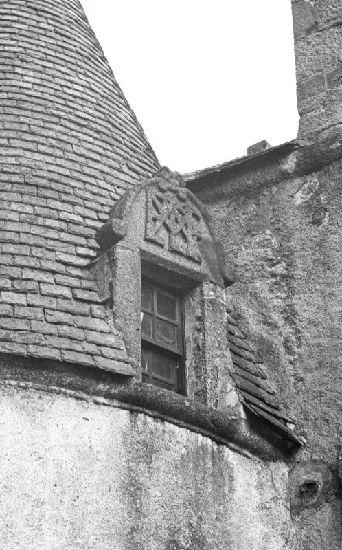 Detail of sample dormer on NE tower at back.
