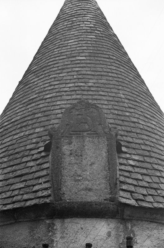 Detail of dormer on NW tower at back.