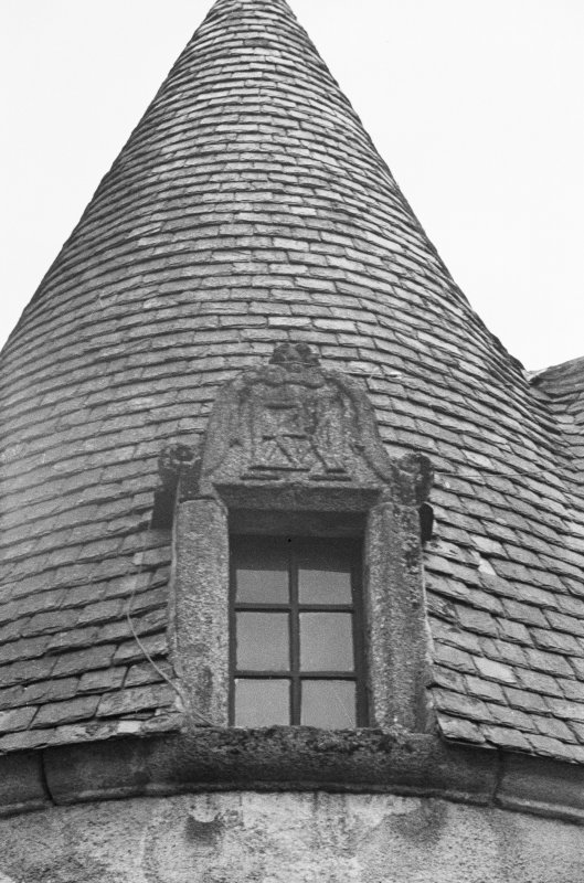 Detail of dormer on NW tower (at back).