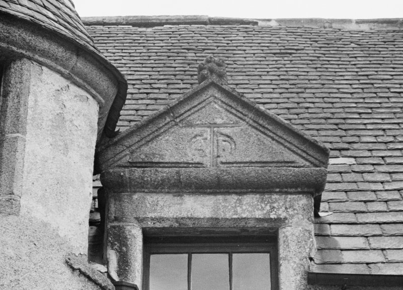 Detail of northern most dormer on W wing (outside).