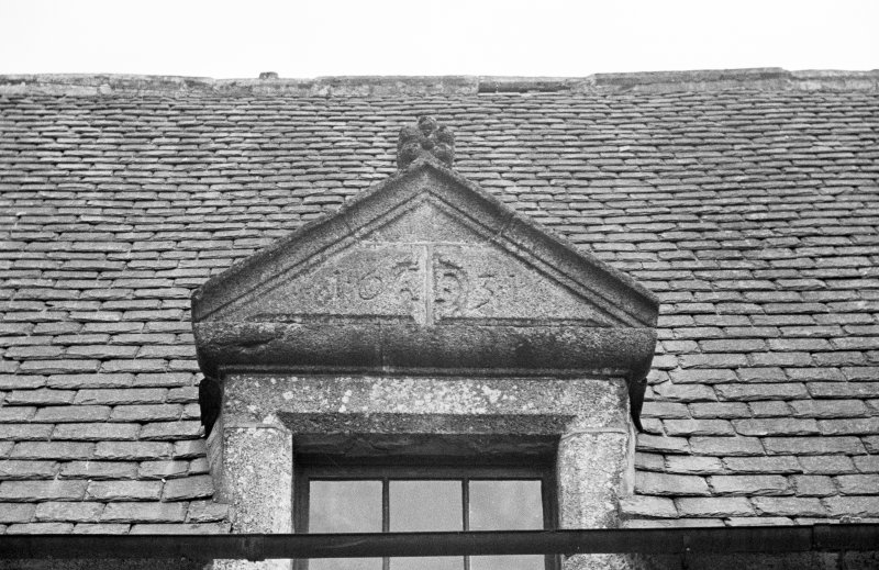 Detail of central dormer on W wing (outside).
