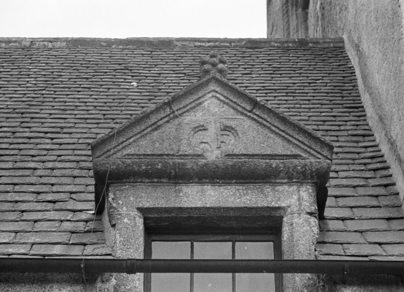 Detail of S most dormer on West wing.