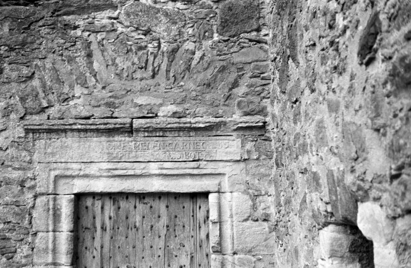 Glenbuchat Castle. Detail of lintel over entrance.
