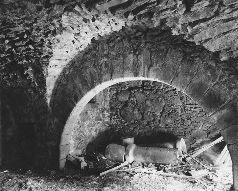 Glenbuchat Castle. Interior. View of kitchen fireplace.