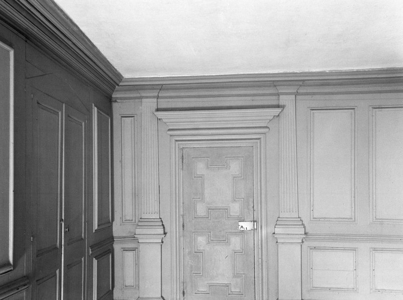 Midmar Castle. Interior. View of panelled room on second floor.