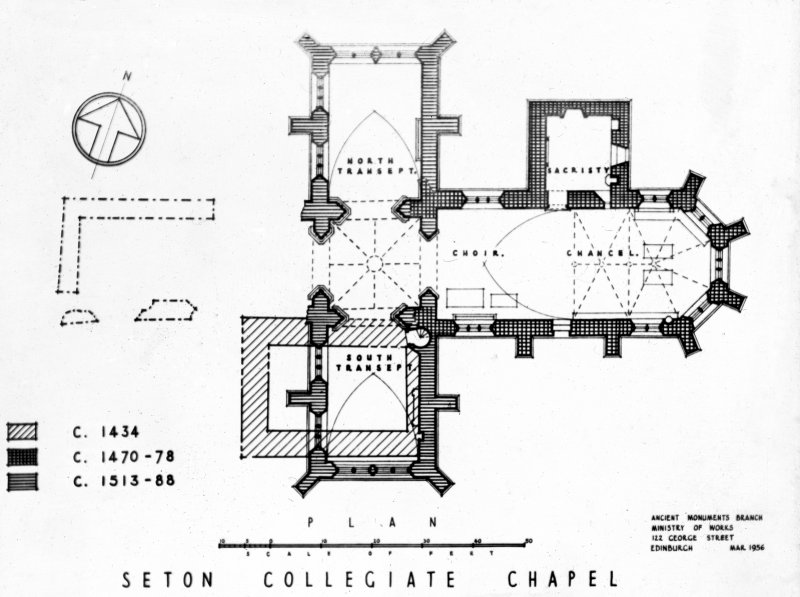 Photographic copy of drawing showing plan of chapel.