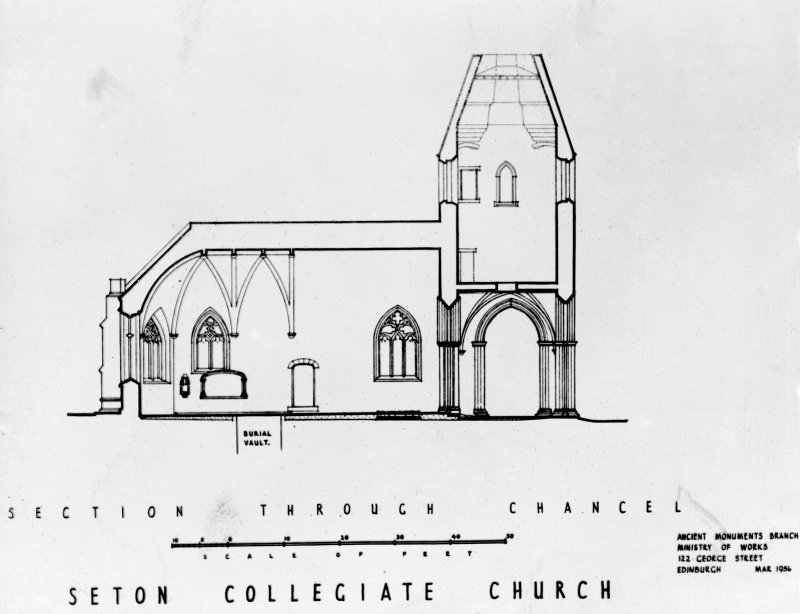 Photographic copy of drawing showing section through chancel.