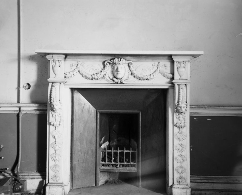 Edinburgh, Dreghorn Castle. View of Georgian marbleplace fireplace in smaller room next door.