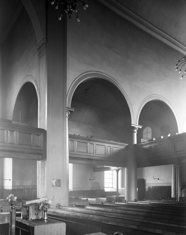 Interior view of Canongate Church, showing East arcade from North West