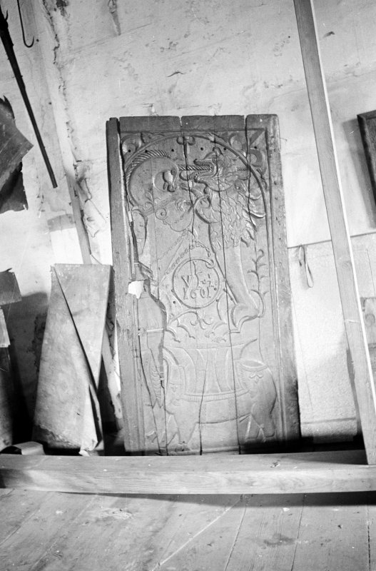 Traquair House, interior. Detail of carved oak door from Terregles, dated 1601.