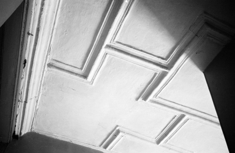 Traquair House, interior Detail of ceiling on 2nd floor corridor