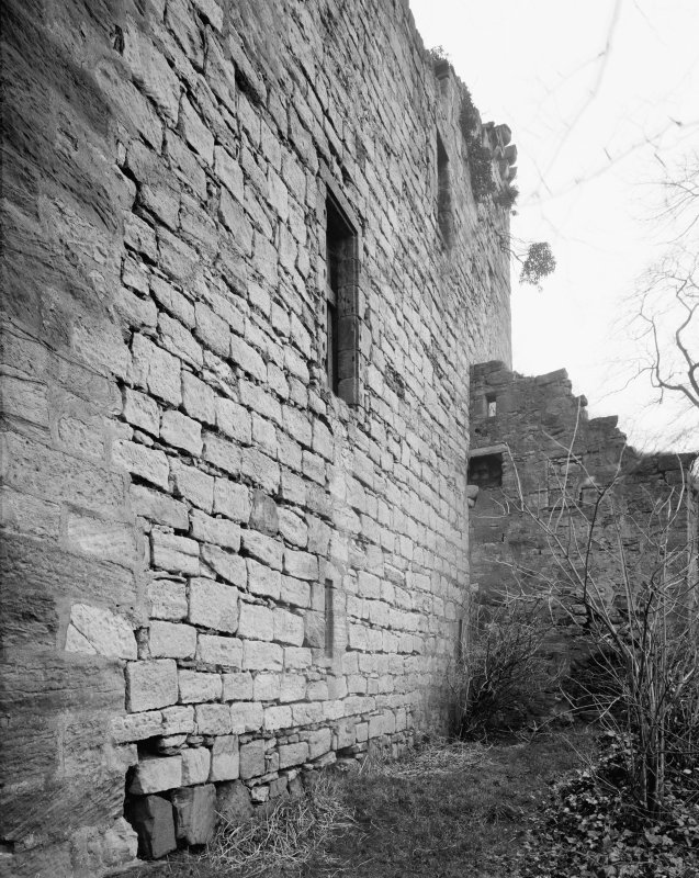 Cathcart Castle, south west side from west.