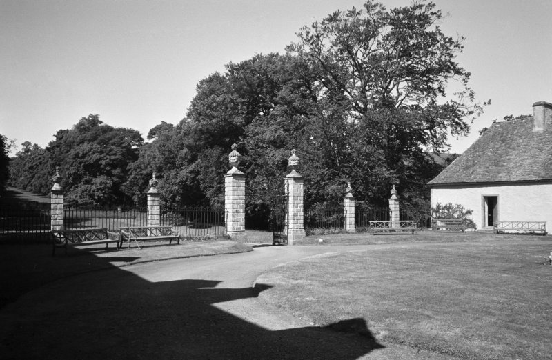 Traquair House View of gates to forecourt