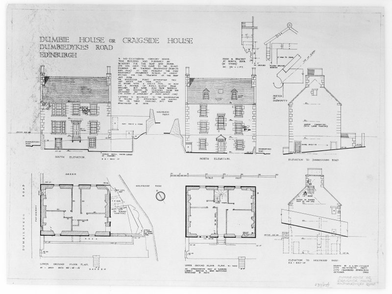 Edinburgh, Dumbiedykes Road, Dumbie house. Photographic copy of plans and elevations of house. Insc: 'Dumbie House, or Cragside House, Dumbiedykes Road, Edinburgh'. Black ink printed on paper.